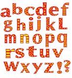 Das englische Alphabet auf einem weißen Hintergrund. Stockbilder