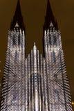 Das Entweichen, das helle Projektion auf der Heiliges Ludmila-Kirche in Prag durch Laszlo Zsolt Bordos am Signallichtfestival vid Lizenzfreie Stockfotos