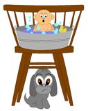 Das erste Bad des Babys Stockfotos