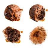 Das Essen des Sirups bedeckte Muffin in vier Schritten Lizenzfreies Stockfoto