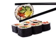 Das Essen rollt mit Gemüse Stockfotografie