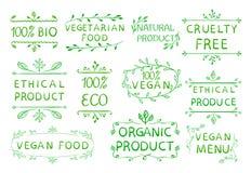 das ethische Produkt 100 strengen Vegetariers geben cruetly frei Gezeichnete Elemente der Weinlese Hand Grüne Grenzen Stockfotos