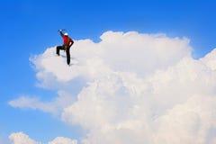 Das extreme Klettern ist seine Adrenaline Gemischte Medien Stockbild