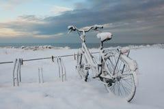 Das Fahrrad, das mit Schnee bedeckt wurde, parkte nahe dem Meer, die Niederlande Stockfoto
