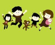 Das Familien-Springen Stockfoto