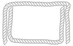 Das Feld, das von den weißen Seilen für Text geschaffen wird, werden auf weißem Hintergrund lokalisiert Lizenzfreies Stockfoto