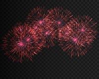 Das festliche kopierte Feuerwerk, das in funkelnden Piktogrammen der verschiedenen Formen birst, stellte gegen schwarze Hintergru Lizenzfreie Stockbilder