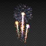 Das festliche kopierte Feuerwerk, das in funkelnden Piktogrammen der verschiedenen Formen birst, stellte gegen schwarze Hintergru Stockfoto