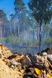 Das Feuer von der Müllgrube hat zum Wald verbreitet Lizenzfreie Stockfotografie