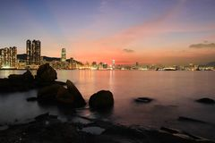 das Fischental bei Sonnenuntergang, Lei Yue Mun lizenzfreies stockfoto