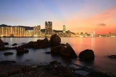 das Fischental bei Sonnenuntergang, Lei Yue Mun stockbilder