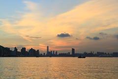 das Fischental bei Sonnenuntergang, Lei Yue Mun stockbild