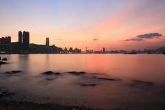das Fischental bei Sonnenuntergang, Lei Yue Mun stockfotos