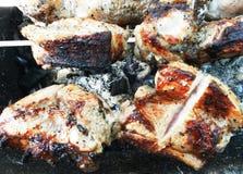 Das Fleisch auf der Aufsteckspindel auf dem Feuer Lizenzfreie Stockfotos
