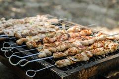 Das Fleisch gebraten auf dem Grill im Freien Stockfotos