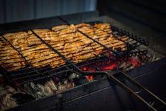 Das Fleisch wird auf dem Grill gebraten stockfoto