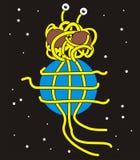 Das fliegende Spaghettimonster hält die Erde lizenzfreies stockfoto