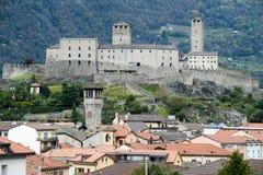 Das Fort von Castelgrande in Bellinzona auf den Schweizer Alpen Lizenzfreies Stockfoto