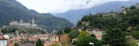 Das Fort von Castelgrande und von Montebello in Bellinzona auf dem Swi Stockfotografie