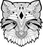 Das Fox-Kopfmuster Einfarbige Tintenzeichnung Lizenzfreies Stockbild