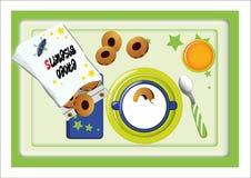 das Frühstück, das Milch und aus Plätzchen besteht, holte t Stockfotografie