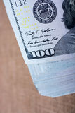 Das Fragment des 100 Dollarscheins Stockbild