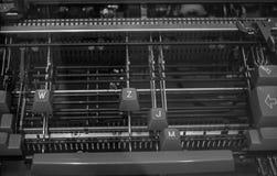 Das Fragment einer alten und Weinleseschreibmaschine Stockfoto