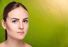 Das Frauengesicht mit Pfeilen über grünem Hintergrund als Netz Lizenzfreie Stockfotografie