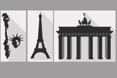 Das Freiheitsstatue Brandenburger Tor Gehen vor Notre Dame Anblick von Lizenzfreie Abbildung