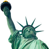 Das Freiheitsstatue in New York City lokalisierte auf Weiß Stockfoto