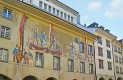Das Fresko auf der Fassade Stockbild