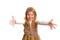 Das frohe Mädchen mit Umarmunggeste Stockbilder
