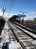 Das fronty Bahngleis in den Niederlanden Stockbild