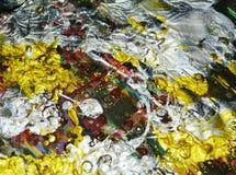 Das Funkeln von Farben, silbrige rote Goldbürste streicht Aquarellfarbe Aquarellfarben-Zusammenfassungshintergrund Stockbilder