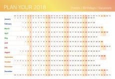 2018 das ganze Jahr Wandplaner Schablone für das Füllen Stockfotografie