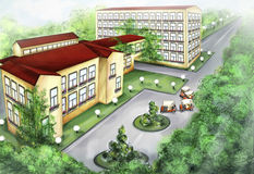 Das Gebäude der Rücksortierung lizenzfreie abbildung