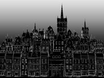 Das Gebäude einer europäischen Stadt, gezeichnet durch einen weißen Entwurf Lizenzfreies Stockfoto
