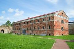 Das Gebäude eines neuen prison& x22; u. x28; years& 1880 x29; in der Oreshek-Festung Shlisselburg Stockbild