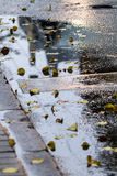 Das Gebäude wird in einem Pool des Regenwassers in Riga reflektiert Stockfoto