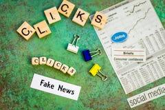 Das gefälschte Nachrichtenkonzept, das mehr Klicken vorschlägt, sind besser Stockbilder