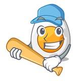 Das gekochte Ei des Baseballs spielen Karikatur geschnitten zum Frühstück stock abbildung