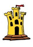 Das Gelb bricked Hand gezeichnetes Gekritzelkunstschloss mit roter Fahne auf die Oberseite vektor abbildung