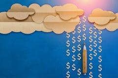 Das Geldzeichen, das vom Wolkenpapier fällt, schnitt flache Art Stockbild