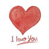 Das gemalte Aquarell lokalisierte rotes Herz, Element für Ihr d Stockfotos