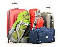 Das Gepäck, das aus großen Koffer-Rucksäcken bestehen und die Reise bauschen sich Lizenzfreies Stockbild