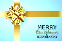 Das Geschenk des neuen Jahres in einem blauen Kasten mit einem Goldband und ein Bogen in Form einer Blume für Dekoration vektor abbildung
