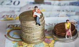 Das geschlechtsspezifische Lohngefälle stockfoto