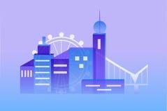 Das gesetzte Blau der Stadt Lizenzfreies Stockfoto