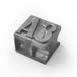 Das gesetzte Metall bezeichnet A3 mit Buchstaben Stockbilder