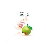 Das Gesicht der jungen Frau mit grünem Apfel Stockfotos